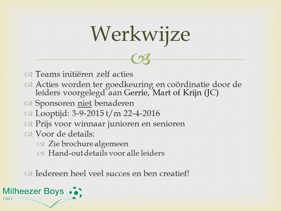   Teams initiëren zelf acties  Acties worden ter goedkeuring en coördinatie door de leiders voorgelegd aan Gerrie, Mart of Krijn (JC)  Sponsoren n