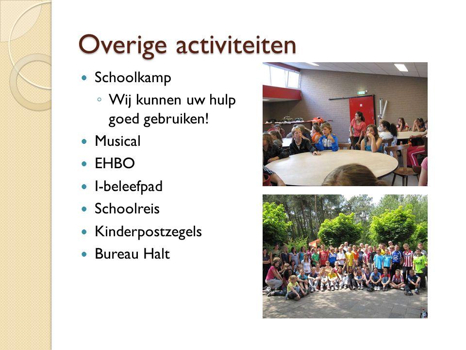 Overige activiteiten Schoolkamp ◦ Wij kunnen uw hulp goed gebruiken! Musical EHBO I-beleefpad Schoolreis Kinderpostzegels Bureau Halt