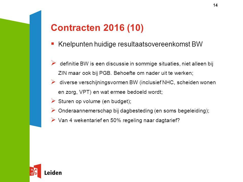 Contracten 2016 (10)  Knelpunten huidige resultaatsovereenkomst BW  definitie BW is een discussie in sommige situaties, niet alleen bij ZIN maar ook bij PGB.