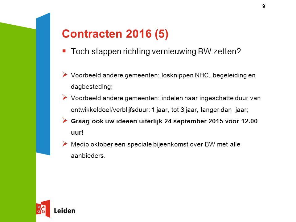 Contracten 2016 (5)  Toch stappen richting vernieuwing BW zetten.