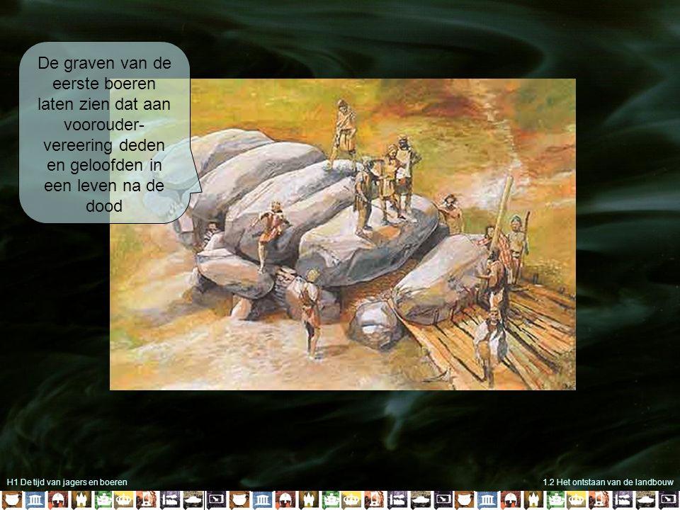 H1 De tijd van jagers en boeren1.2 Het ontstaan van de landbouw De graven van de eerste boeren laten zien dat aan voorouder- vereering deden en geloofden in een leven na de dood