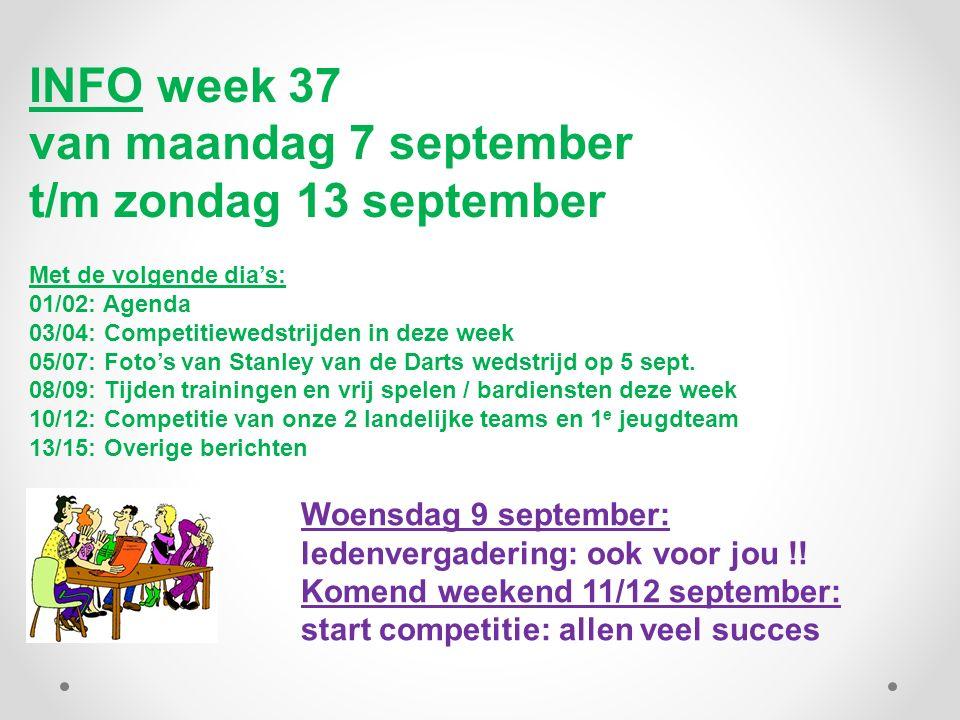 INFO week 37 van maandag 7 september t/m zondag 13 september Met de volgende dia's: 01/02: Agenda 03/04: Competitiewedstrijden in deze week 05/07: Foto's van Stanley van de Darts wedstrijd op 5 sept.