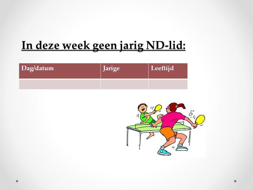 In deze week geen jarig ND-lid: Dag/datumJarigeLeeftijd