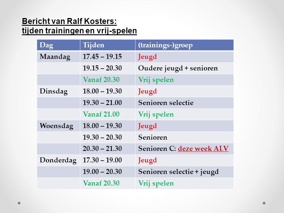DagTijden(trainings-)groep Maandag17.45 – 19.15Jeugd 19.15 – 20.30Oudere jeugd + senioren Vanaf 20.30Vrij spelen Dinsdag18.00 – 19.30Jeugd 19.30 – 21.00Senioren selectie Vanaf 21.00Vrij spelen Woensdag18.00 – 19.30Jeugd 19.30 – 20.30Senioren 20.30 – 21.30Senioren C: deze week ALV Donderdag17.30 – 19.00Jeugd 19.00 – 20.30Senioren selectie + jeugd Vanaf 20.30Vrij spelen Bericht van Ralf Kosters: tijden trainingen en vrij-spelen