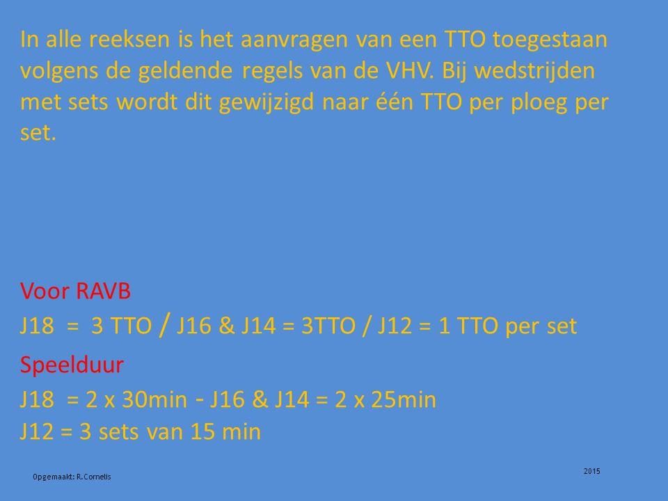 2015 Opgemaakt: R.Cornelis In alle reeksen is het aanvragen van een TTO toegestaan volgens de geldende regels van de VHV.