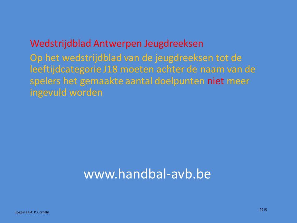 2015 Opgemaakt: R.Cornelis www.handbal-avb.be Wedstrijdblad Antwerpen Jeugdreeksen Op het wedstrijdblad van de jeugdreeksen tot de leeftijdcategorie J18 moeten achter de naam van de spelers het gemaakte aantal doelpunten niet meer ingevuld worden