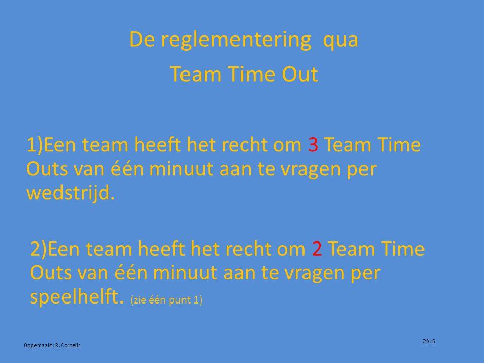 2015 De reglementering qua Team Time Out Opgemaakt: R.Cornelis 1)Een team heeft het recht om 3 Team Time Outs van één minuut aan te vragen per wedstrijd.
