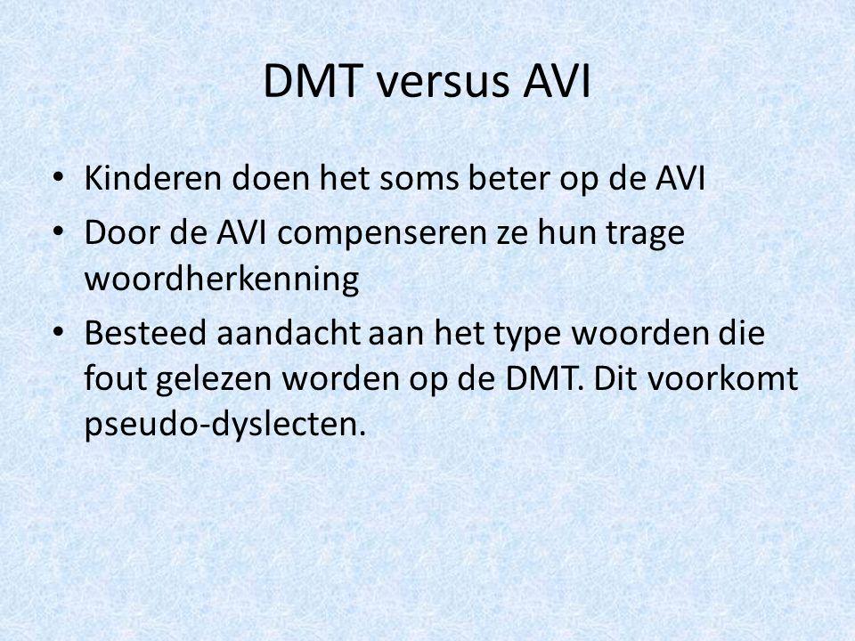 DMT versus AVI Kinderen doen het soms beter op de AVI Door de AVI compenseren ze hun trage woordherkenning Besteed aandacht aan het type woorden die fout gelezen worden op de DMT.