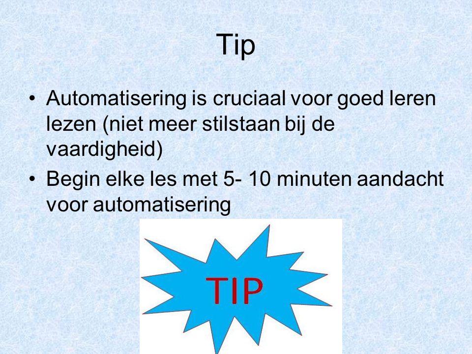 Tip Automatisering is cruciaal voor goed leren lezen (niet meer stilstaan bij de vaardigheid) Begin elke les met 5- 10 minuten aandacht voor automatisering