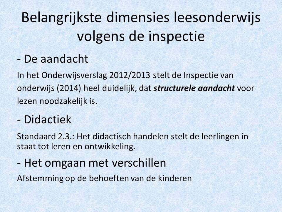 Belangrijkste dimensies leesonderwijs volgens de inspectie - De aandacht In het Onderwijsverslag 2012/2013 stelt de Inspectie van onderwijs (2014) heel duidelijk, dat structurele aandacht voor lezen noodzakelijk is.