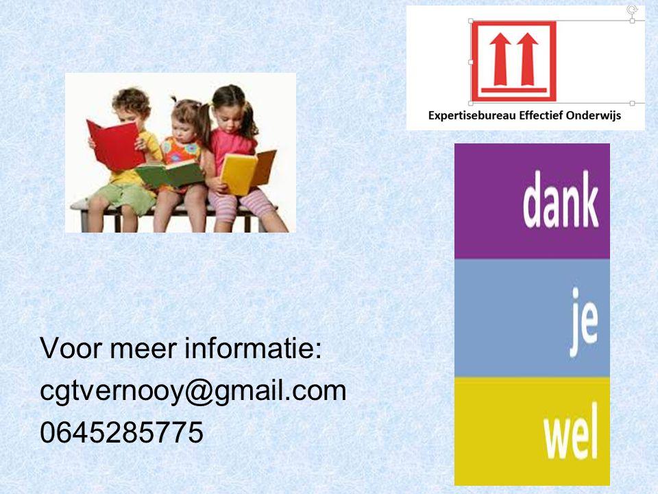 Voor meer informatie: cgtvernooy@gmail.com 0645285775