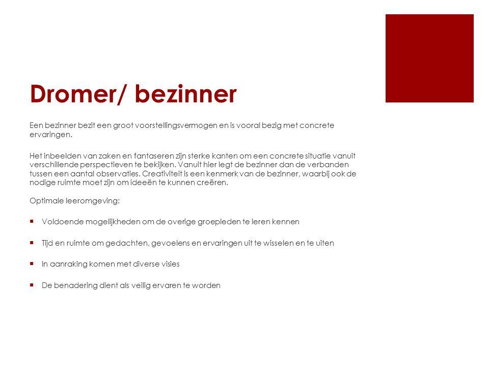 Dromer/ bezinner Een bezinner bezit een groot voorstellingsvermogen en is vooral bezig met concrete ervaringen.