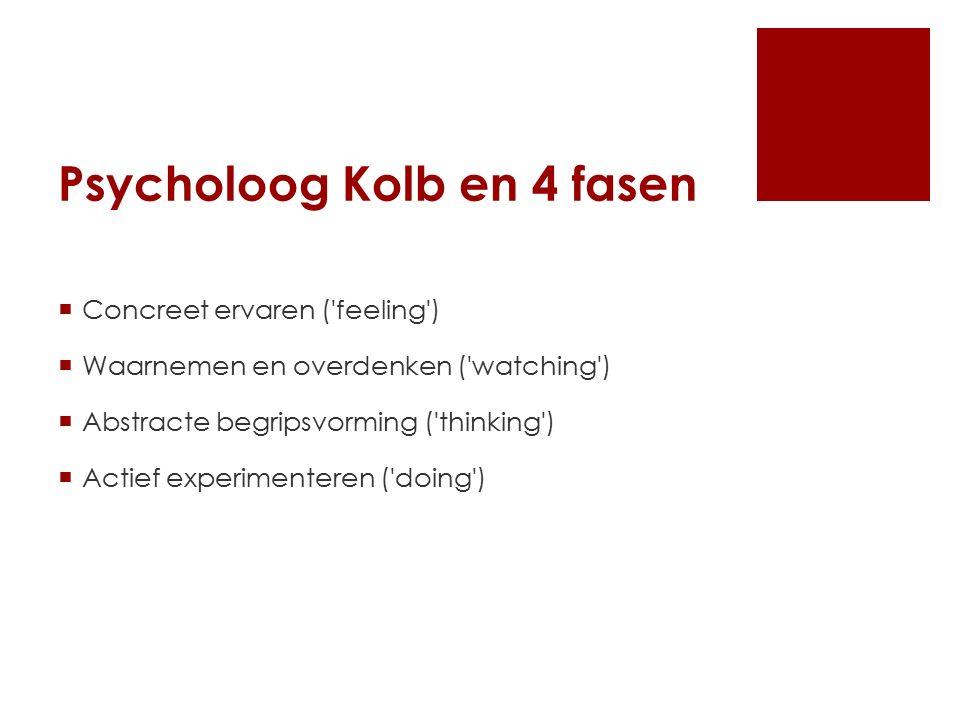 Psycholoog Kolb en 4 fasen  Concreet ervaren ( feeling )  Waarnemen en overdenken ( watching )  Abstracte begripsvorming ( thinking )  Actief experimenteren ( doing )
