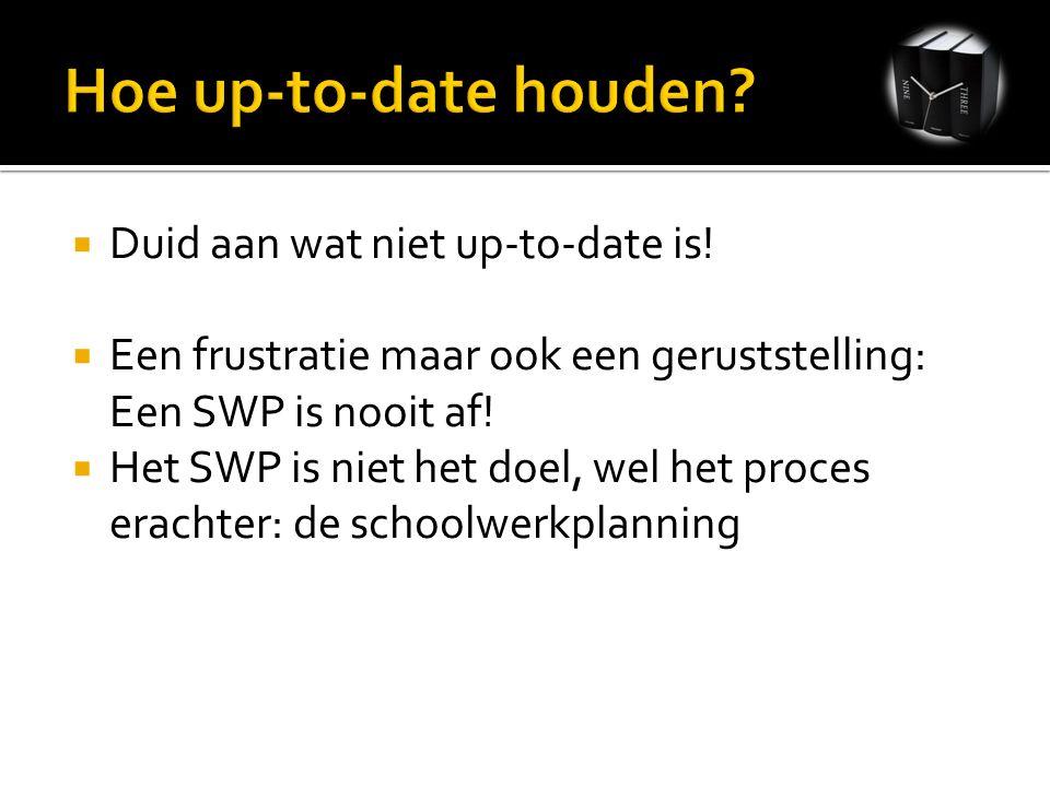  Duid aan wat niet up-to-date is!  Een frustratie maar ook een geruststelling: Een SWP is nooit af!  Het SWP is niet het doel, wel het proces erach