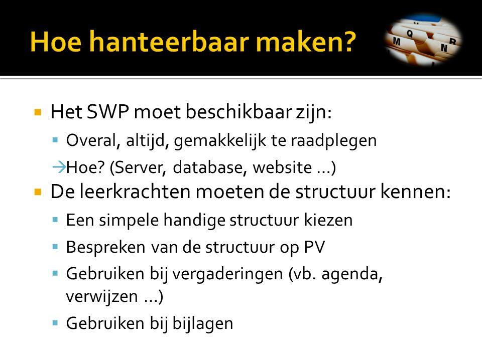  Het SWP moet beschikbaar zijn:  Overal, altijd, gemakkelijk te raadplegen  Hoe? (Server, database, website …)  De leerkrachten moeten de structuu