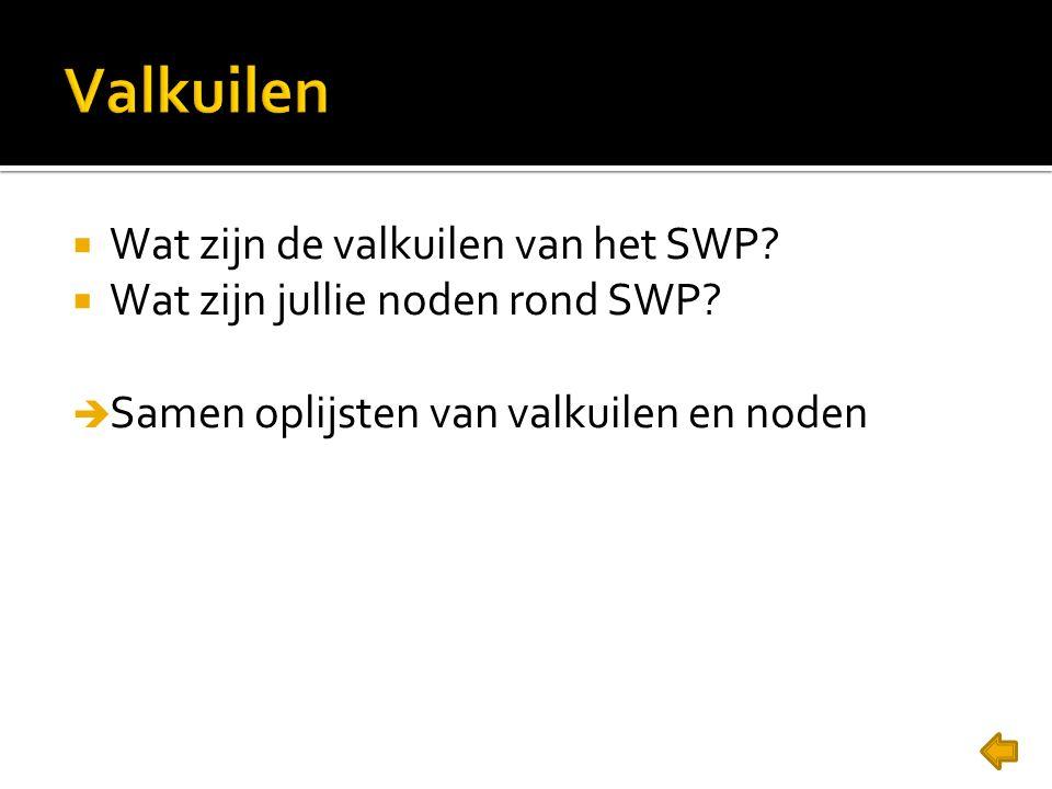  Wat zijn de valkuilen van het SWP?  Wat zijn jullie noden rond SWP?  Samen oplijsten van valkuilen en noden