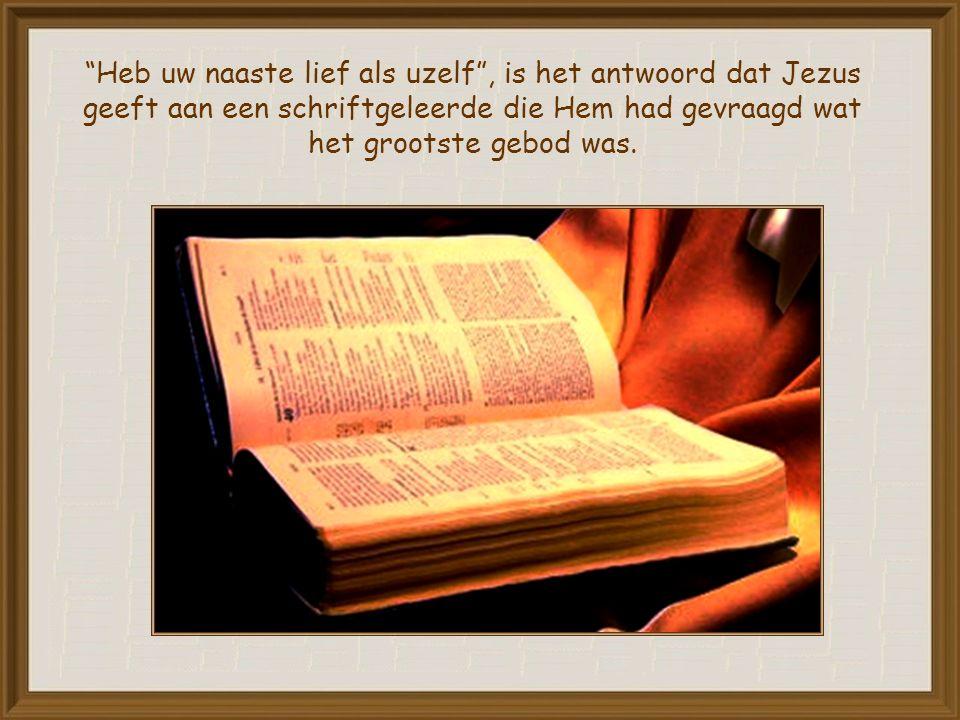 Heb uw naaste lief als uzelf , is het antwoord dat Jezus geeft aan een schriftgeleerde die Hem had gevraagd wat het grootste gebod was.