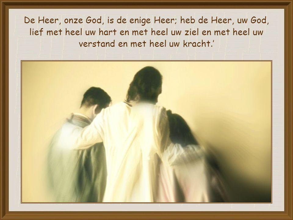 De Heer, onze God, is de enige Heer; heb de Heer, uw God, lief met heel uw hart en met heel uw ziel en met heel uw verstand en met heel uw kracht.'