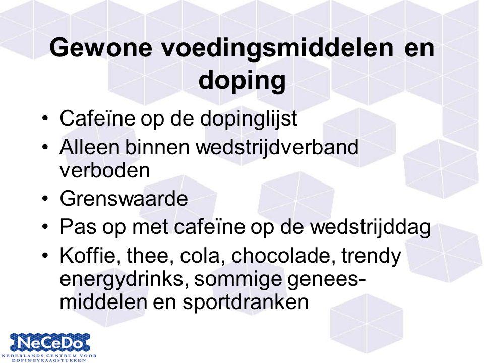 Gewone voedingsmiddelen en doping Cafeïne op de dopinglijst Alleen binnen wedstrijdverband verboden Grenswaarde Pas op met cafeïne op de wedstrijddag Koffie, thee, cola, chocolade, trendy energydrinks, sommige genees- middelen en sportdranken