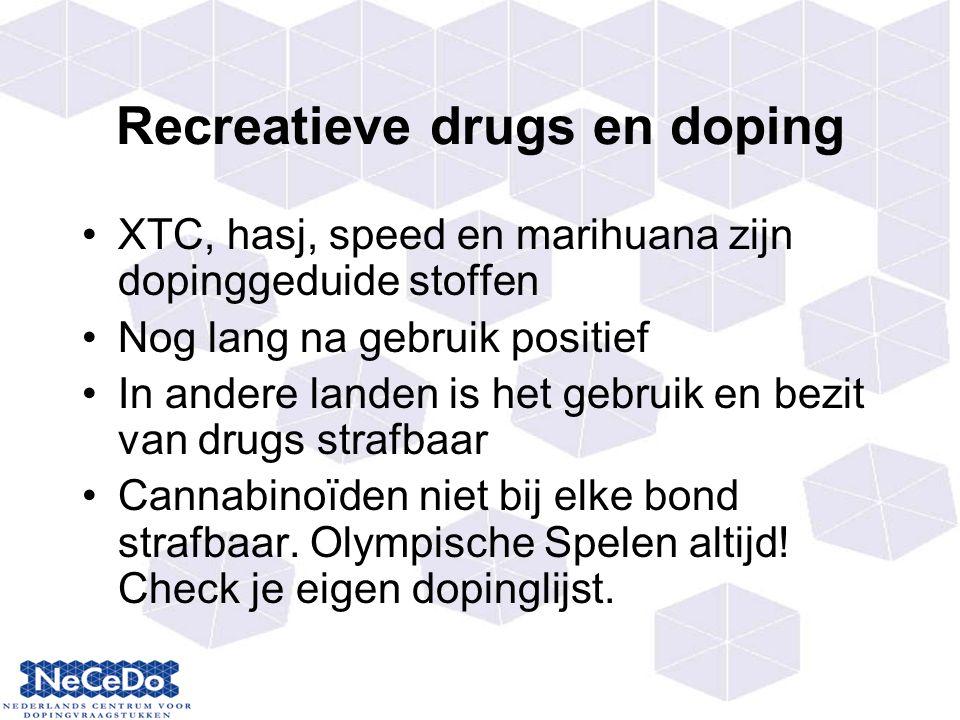 Recreatieve drugs en doping XTC, hasj, speed en marihuana zijn dopinggeduide stoffen Nog lang na gebruik positief In andere landen is het gebruik en bezit van drugs strafbaar Cannabinoïden niet bij elke bond strafbaar.