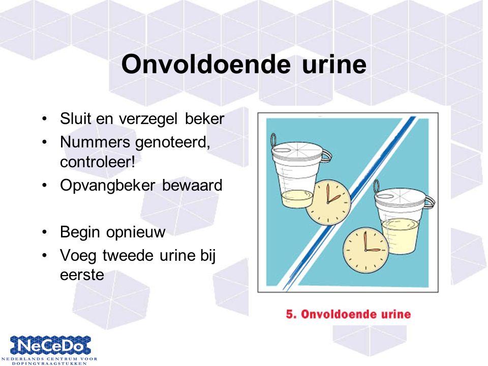 Onvoldoende urine Sluit en verzegel beker Nummers genoteerd, controleer.