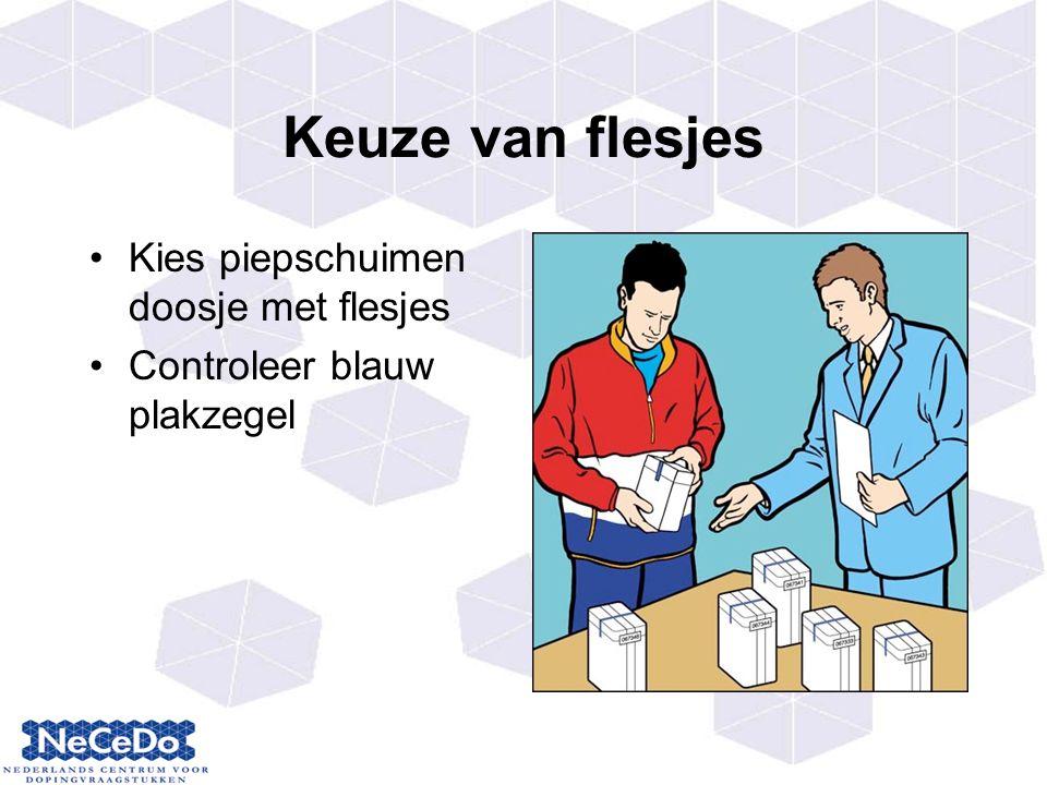 Keuze van flesjes Kies piepschuimen doosje met flesjes Controleer blauw plakzegel