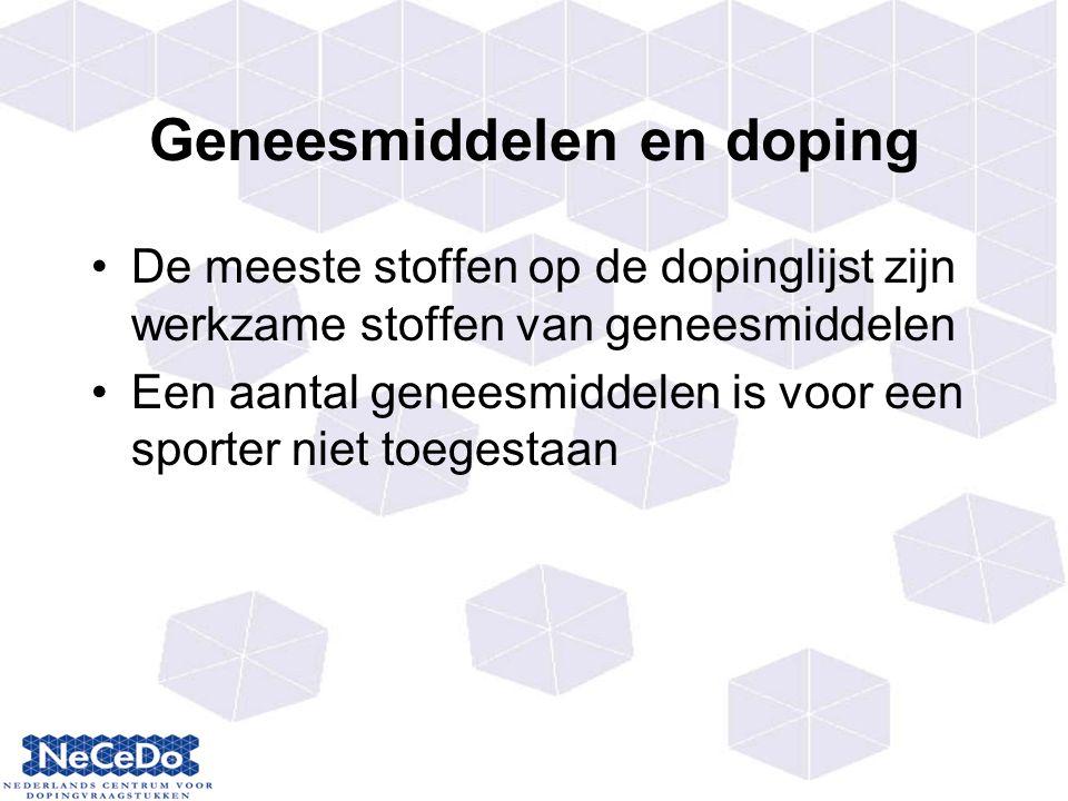 Geneesmiddelen en doping De meeste stoffen op de dopinglijst zijn werkzame stoffen van geneesmiddelen Een aantal geneesmiddelen is voor een sporter niet toegestaan