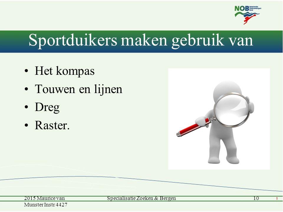 Sportduikers maken gebruik van Het kompas Touwen en lijnen Dreg Raster.