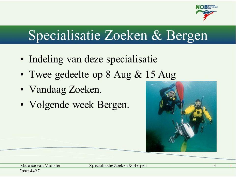 Indeling van deze specialisatie Twee gedeelte op 8 Aug & 15 Aug Vandaag Zoeken. Volgende week Bergen. Specialisatie Zoeken & Bergen Maurice van Munste