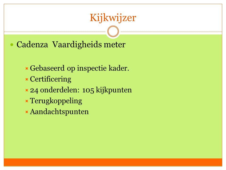 Kijkwijzer Cadenza Vaardigheids meter  Gebaseerd op inspectie kader.  Certificering  24 onderdelen: 105 kijkpunten  Terugkoppeling  Aandachtspunt