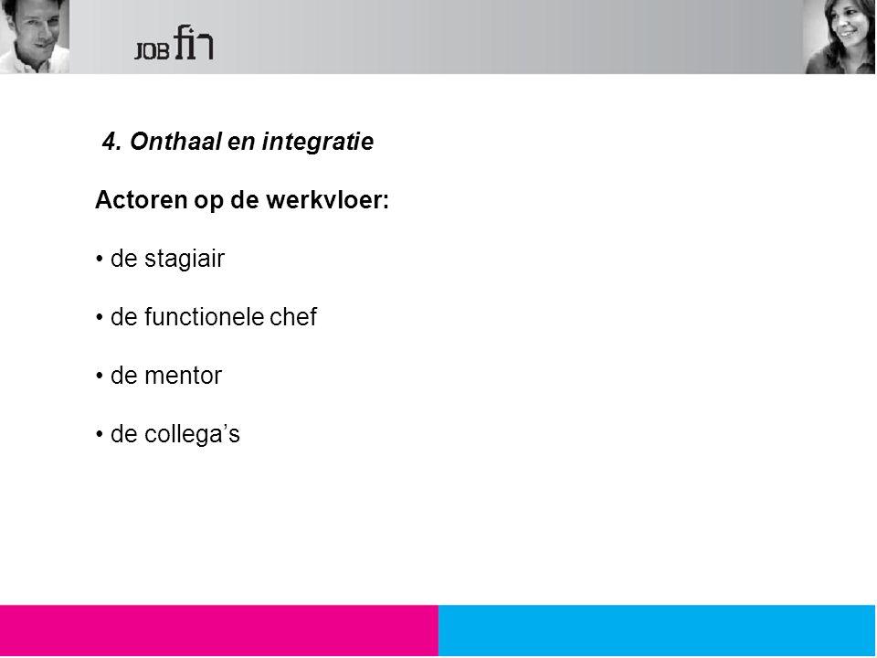 4. Onthaal en integratie Actoren op de werkvloer: de stagiair de functionele chef de mentor de collega's