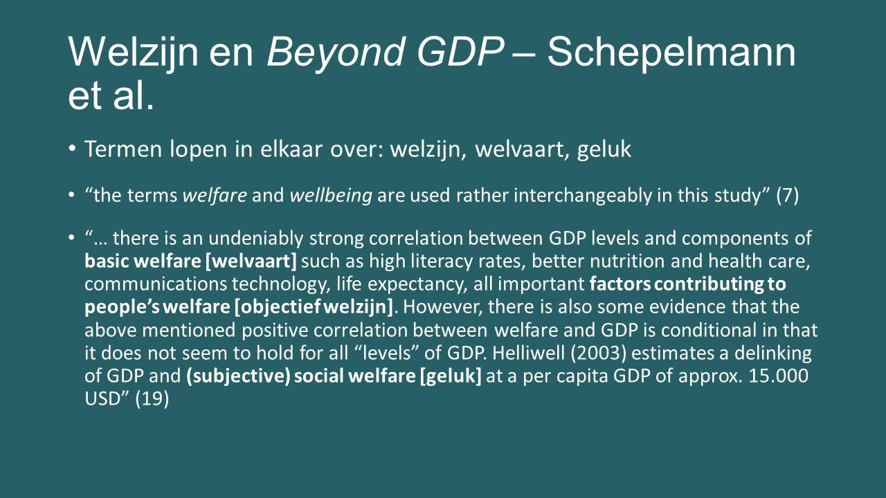 """Welzijn en Beyond GDP – Schepelmann et al. Termen lopen in elkaar over: welzijn, welvaart, geluk """"the terms welfare and wellbeing are used rather inte"""