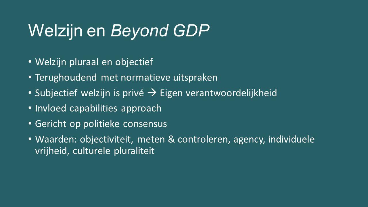 Welzijn en Beyond GDP Welzijn pluraal en objectief Terughoudend met normatieve uitspraken Subjectief welzijn is privé  Eigen verantwoordelijkheid Inv