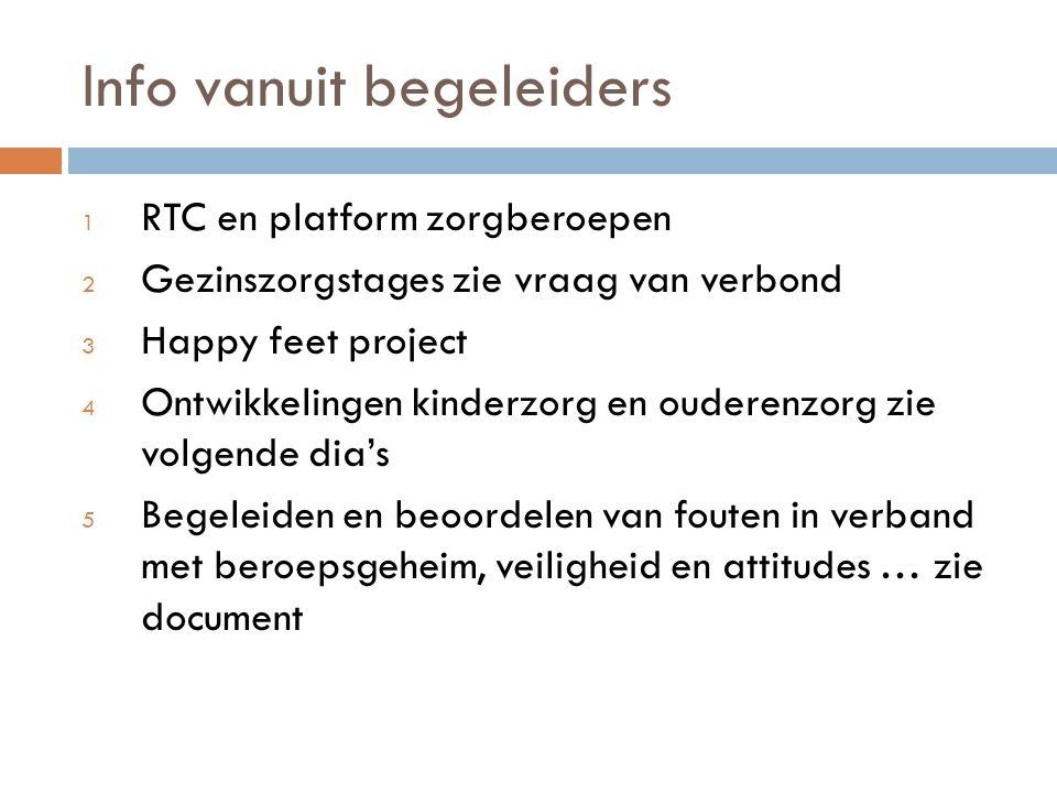 Info vanuit begeleiders 1 RTC en platform zorgberoepen 2 Gezinszorgstages zie vraag van verbond 3 Happy feet project 4 Ontwikkelingen kinderzorg en ou