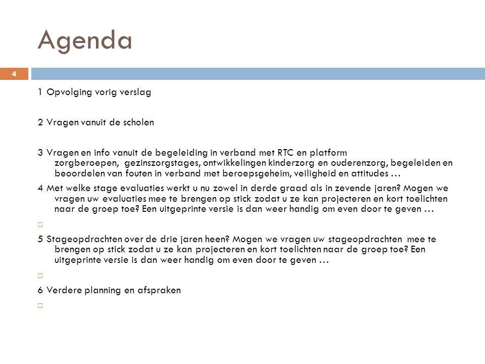 Agenda 4 1 Opvolging vorig verslag 2 Vragen vanuit de scholen 3 Vragen en info vanuit de begeleiding in verband met RTC en platform zorgberoepen, gezi
