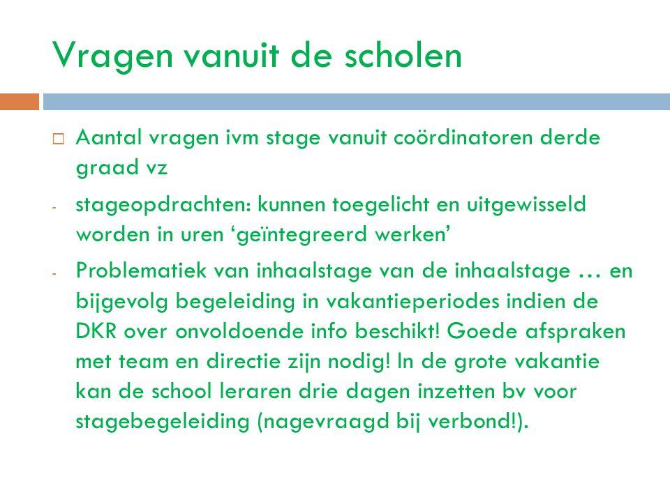Vragen vanuit de scholen  Aantal vragen ivm stage vanuit coördinatoren derde graad vz - stageopdrachten: kunnen toegelicht en uitgewisseld worden in