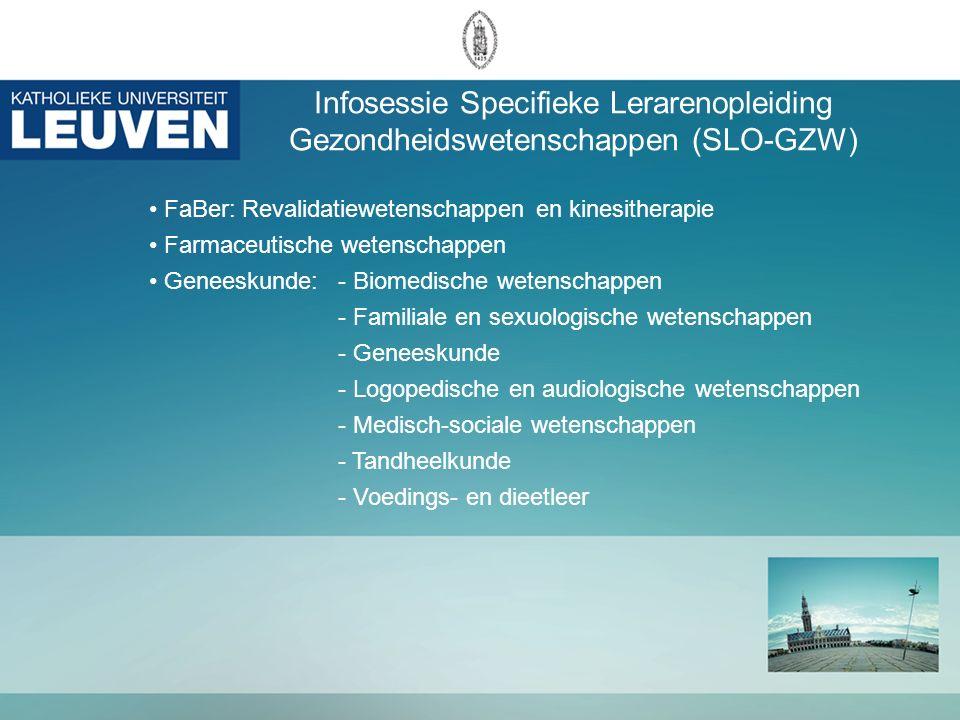 Wegwijs op het internet Algemene info ALO: http://www.kuleuven.be/alo/ http://www.kuleuven.be/avl/ Info onderwijs - Vlaams Ministerie van Onderwijs en Vorming http://www.ond.vlaanderen.be/ - Vlaams Secretariaat van het Katholiek Onderwijs http://ond.vsko.be - Vlaams Verbond van het Katholiek Secundair Onderwijs http://www.vvkso.be/ - Gemeenschapsonderwijs http://www.gemeenschapsonderwijs.be / Specifieke info SLO http://gbiomed.kuleuven.be/slo http://toledo.kuleuven.be/http://toledo.kuleuven.be/ → Community SLO Biomedische groep