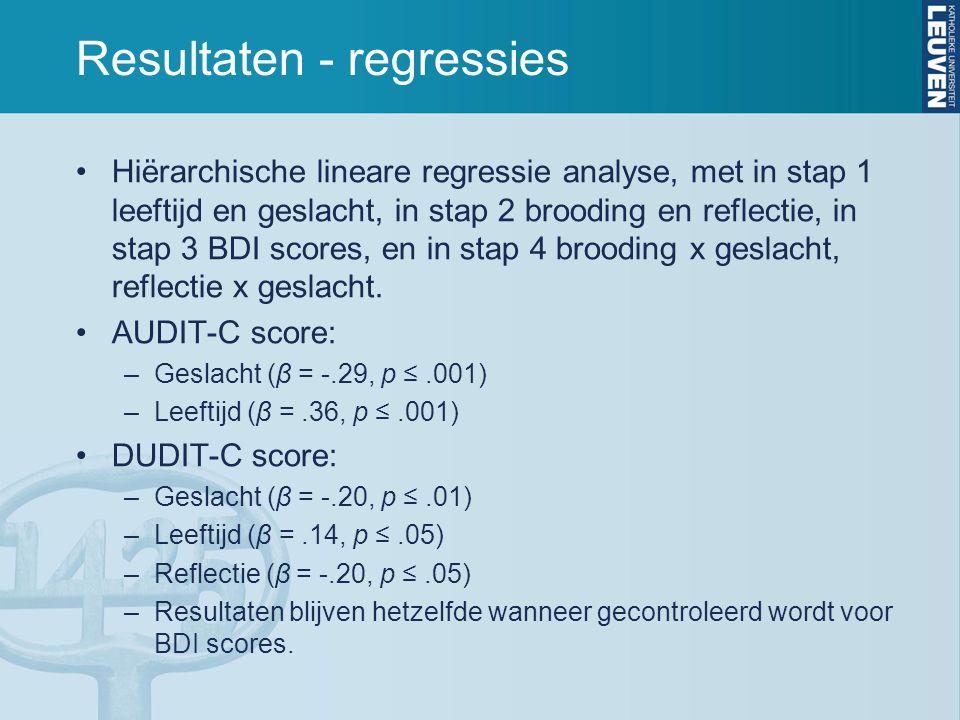 Resultaten - regressies Hiërarchische lineare regressie analyse, met in stap 1 leeftijd en geslacht, in stap 2 brooding en reflectie, in stap 3 BDI scores, en in stap 4 brooding x geslacht, reflectie x geslacht.
