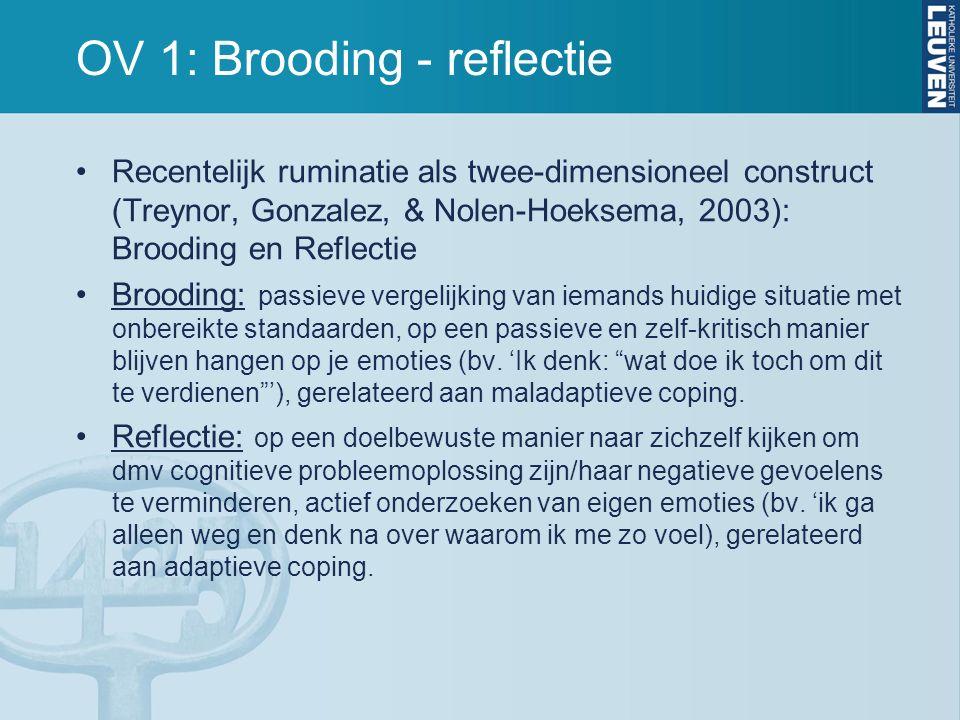 OV 1: Brooding - reflectie Recentelijk ruminatie als twee-dimensioneel construct (Treynor, Gonzalez, & Nolen-Hoeksema, 2003): Brooding en Reflectie Brooding: passieve vergelijking van iemands huidige situatie met onbereikte standaarden, op een passieve en zelf-kritisch manier blijven hangen op je emoties (bv.
