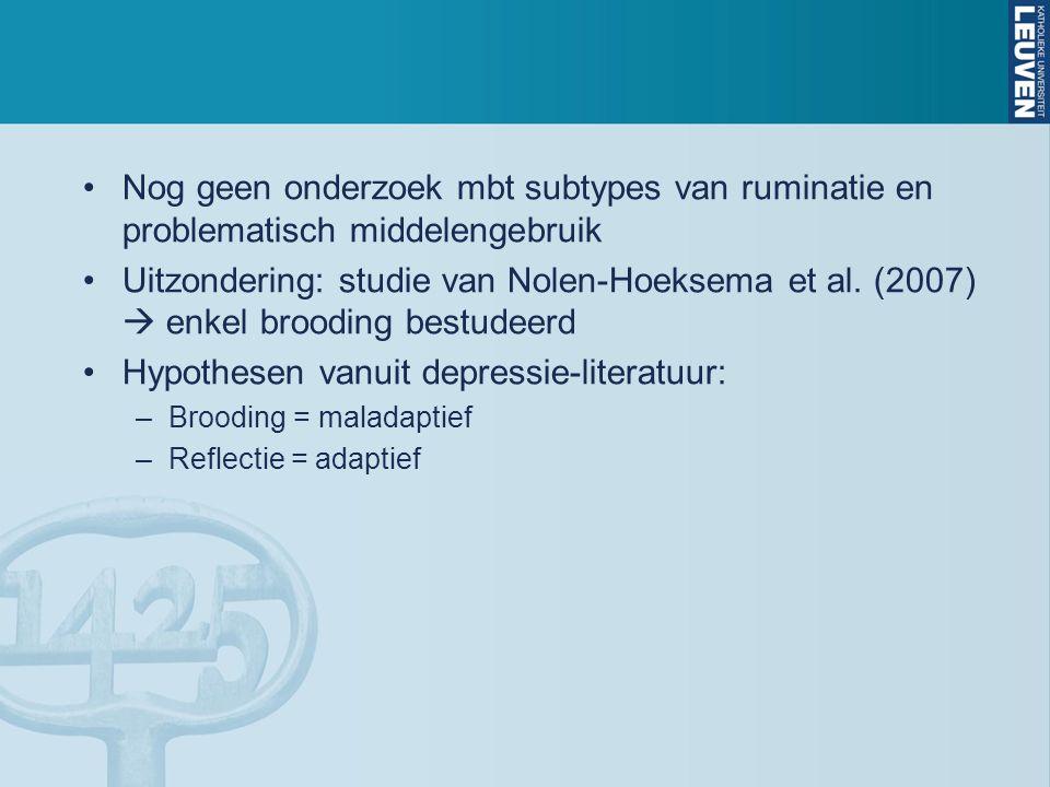 Discussie Onderzoeksvraag 1: –Hoge brooding geassocieerd met RAPI scores  conform studie van Nolen-Hoeksema et al.
