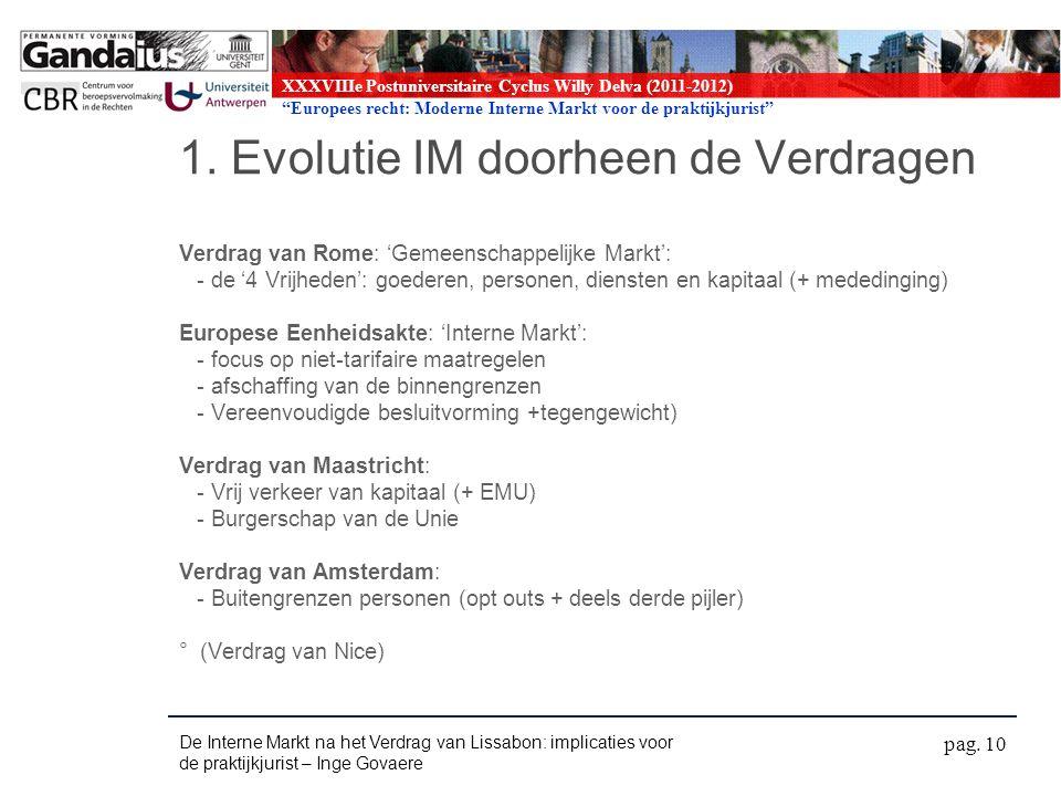 XXXVIIIe Postuniversitaire Cyclus Willy Delva (2011-2012) Europees recht: Moderne Interne Markt voor de praktijkjurist 1.
