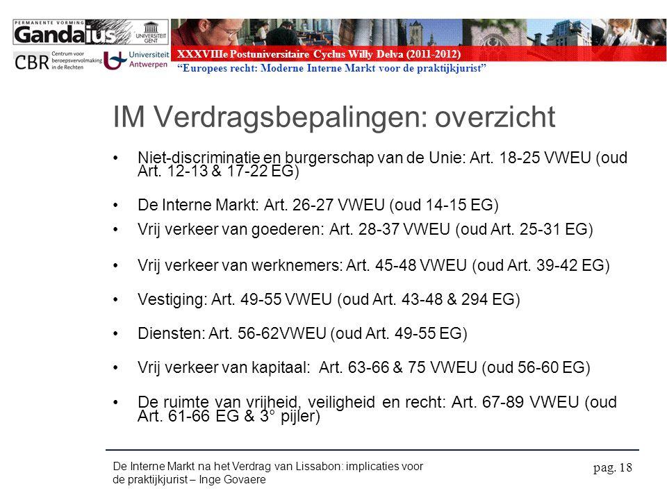 XXXVIIIe Postuniversitaire Cyclus Willy Delva (2011-2012) Europees recht: Moderne Interne Markt voor de praktijkjurist IM Verdragsbepalingen: overzicht Niet-discriminatie en burgerschap van de Unie: Art.