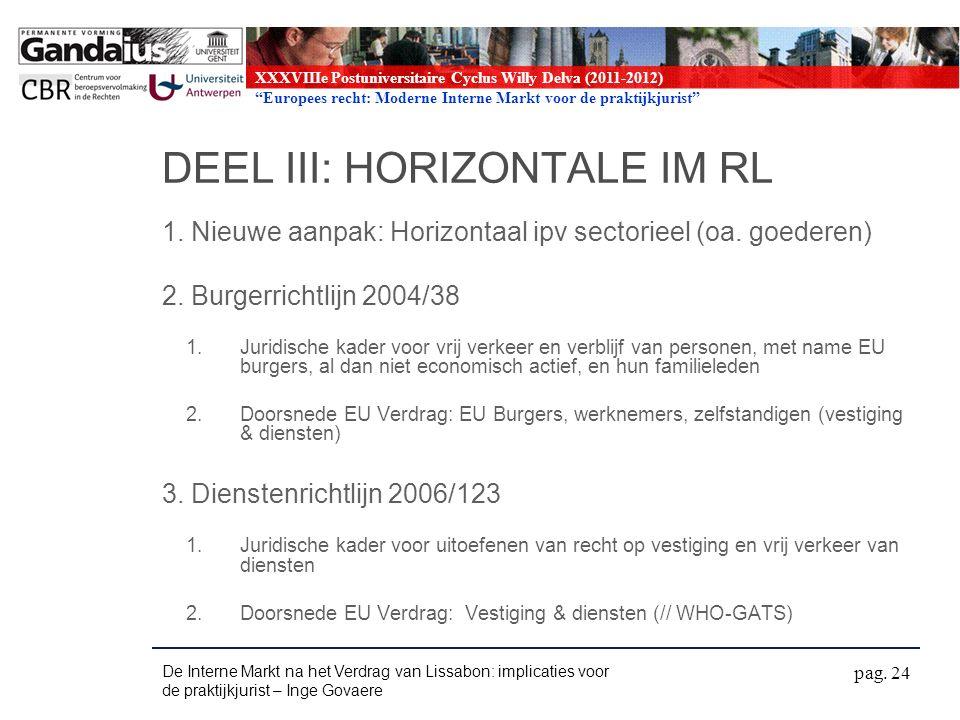 XXXVIIIe Postuniversitaire Cyclus Willy Delva (2011-2012) Europees recht: Moderne Interne Markt voor de praktijkjurist DEEL III: HORIZONTALE IM RL 1.