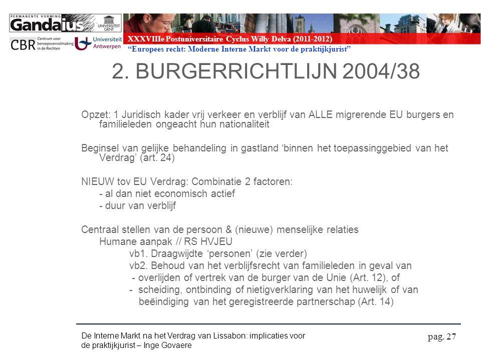 XXXVIIIe Postuniversitaire Cyclus Willy Delva (2011-2012) Europees recht: Moderne Interne Markt voor de praktijkjurist 2.
