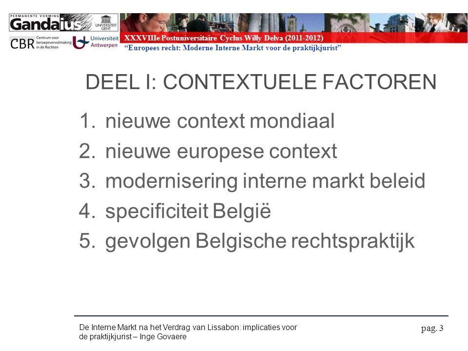 XXXVIIIe Postuniversitaire Cyclus Willy Delva (2011-2012) Europees recht: Moderne Interne Markt voor de praktijkjurist Horizontale beginselen Art.