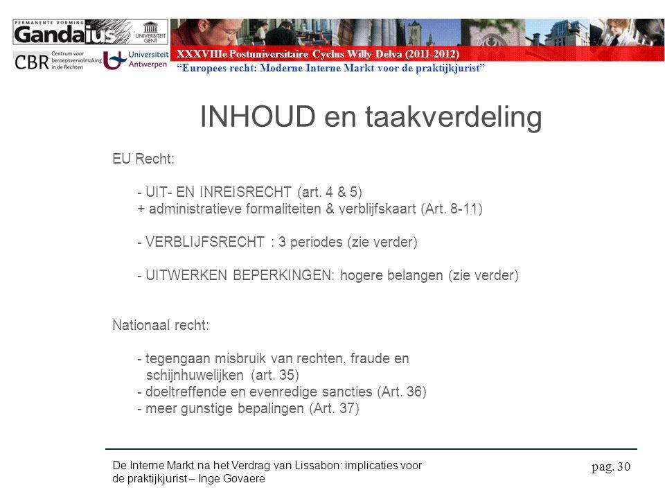 XXXVIIIe Postuniversitaire Cyclus Willy Delva (2011-2012) Europees recht: Moderne Interne Markt voor de praktijkjurist INHOUD en taakverdeling EU Recht: - UIT- EN INREISRECHT (art.