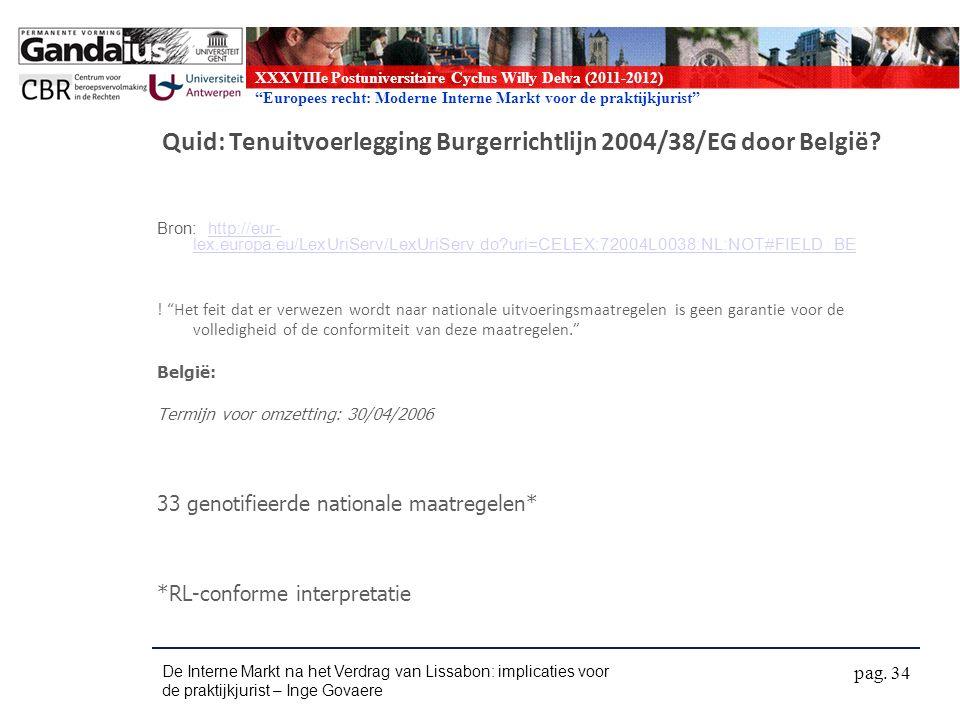 XXXVIIIe Postuniversitaire Cyclus Willy Delva (2011-2012) Europees recht: Moderne Interne Markt voor de praktijkjurist Quid: Tenuitvoerlegging Burgerrichtlijn 2004/38/EG door België.