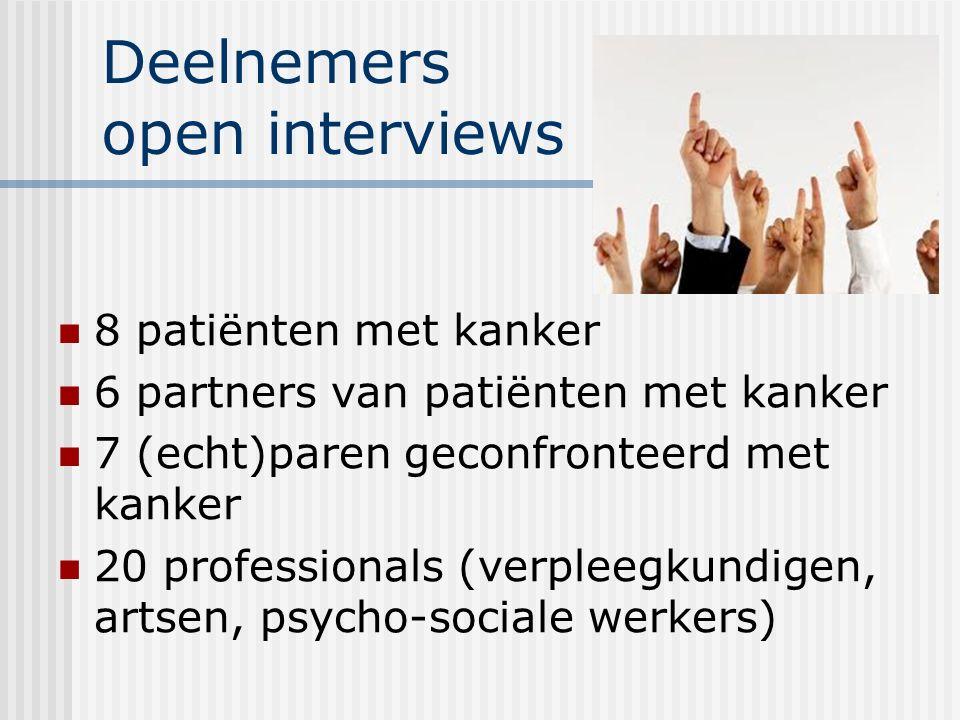 Deelnemers open interviews 8 patiënten met kanker 6 partners van patiënten met kanker 7 (echt)paren geconfronteerd met kanker 20 professionals (verple
