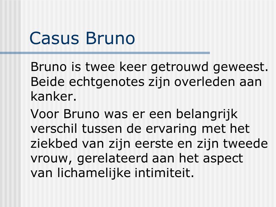Casus Bruno Bruno is twee keer getrouwd geweest.Beide echtgenotes zijn overleden aan kanker.