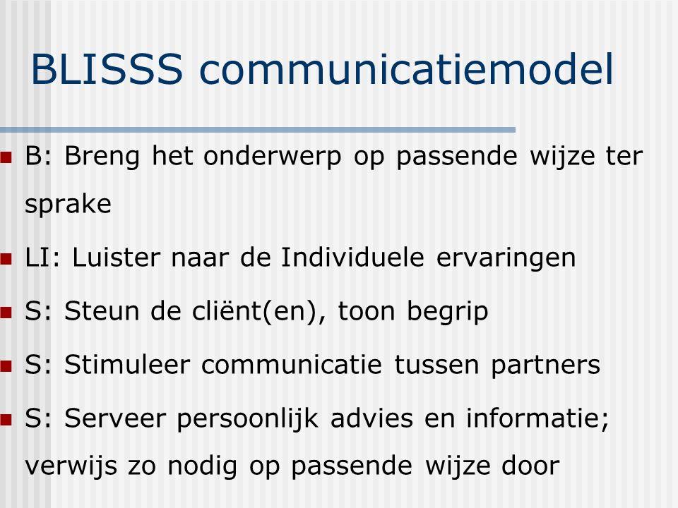 BLISSS communicatiemodel B: Breng het onderwerp op passende wijze ter sprake LI: Luister naar de Individuele ervaringen S: Steun de cliënt(en), toon begrip S: Stimuleer communicatie tussen partners S: Serveer persoonlijk advies en informatie; verwijs zo nodig op passende wijze door